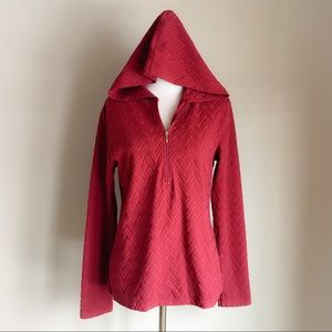 Lucy Maroon 3/4th Zip Hooded Textured Top